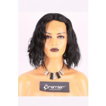 Clearance Black Choppy Bob Style Middle Part 1# Color Indian Remy Human Hair Lace Front Wigs,Average Cap Size