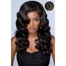 "Charming Body Wavy Human Hair Lace Front Wigs With 4.5"" Super Deep C Side Part"