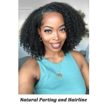 Affordable Lace Parting Wig Kinky Curly Bob Style Indian Remy Human Hair, 150% Thick Density
