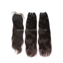 A Silk Base Closure with 2 Bundles Deal Brazilian Virgin Hair Weave Straight