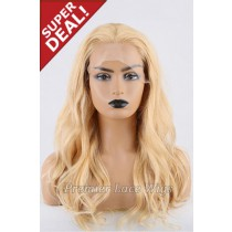 Super Deal 18 inches Lace Front Wig Wavy Blonde Hair