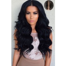 "Indian Remy Hair Body Wave,4.5"" Super Deep Middle Part Lace Front Wigs"