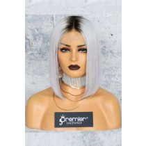 "Gray Hair Dark Roots Bob Cut,4.5"" Lace Front Wig"