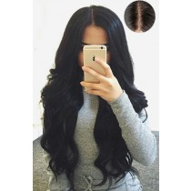 "Gorgeous Wavy 4.5"" Super Deep Middle Part Human Hair Lace Front Wigs"