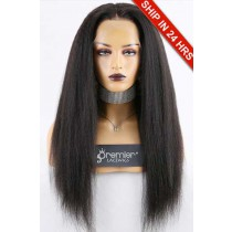 "Super Deal 4.5"" Lace 360 Wig,Indian Remy Hair Natural Color,22 inches Kinky Straight"
