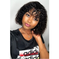 "Fringe Style Curly Hair Bob Cut 13""x6"" Lace Frontal Wig"