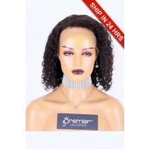"""12 inches Curly Style 13""""×4"""" Lace Frontal Wig, Indian Remy Human Hair Natural Color 180% , Medium Size"""