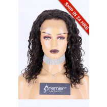 """14 inches Deep Wave 13""""x4"""" Lace Frontal Wig, Indian Remy Human Hair Natural Color 180% , Average Size, Removable elastic band"""