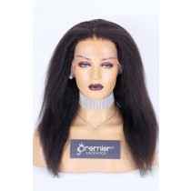 Clearance Sale Lace Front Wig Kinky Straight,Indian Remy Human Hair Natural Color 16inches 150% Medium Size
