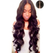 "Indian Remy Hair Loose Wavy,4.5"" Super Deep Middle Part Lace Front Wigs"
