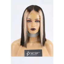 Straight Black Hair Bob Cut Blonde Highlights