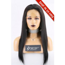 Super Deal Full Lace Wig, Chinese Virgin Hair 1B# 18 inches Silky Straight 180% Extra Thick Density, Medium Size,Light Brown Lace with Adjustable Straps