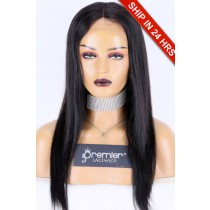 Glueless Lace Front Wig Silky Straight,Peruvian Virgin Hair 18 inches,1B#,130% Density,Average Size