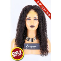 Super Deal 50% Off Curly Lace Frontal Wig, Brazilian Virgin Hair Natural color,20 inches 150%, Medium Size, Medium Brown lace