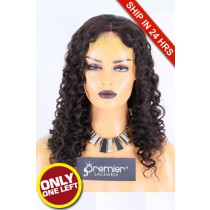 Super Deal 50% Off Curly Lace Front Wig, Brazilian Virgin Hair Natural color,20 inches 150%, Medium Size, Medium Brown lace