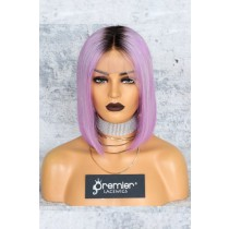 "Lavender Hair Dark Roots Bob Cut,4.5"" Lace Front Wig,Indian Remy Hair Silky Straight 150% Density"