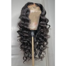 """Super Thin Transparent HD Lace, 5""""x5"""" HD Lace Closure Wig, Loose Curly Indian Remy Human Hair  [Pre-bleached knots only for natural black color, Pre-plucked hairline, Removable elastic band]"""