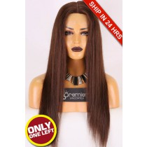 Super Deal Silk Top Full Lace Wig,Indian Remy Hair 3#,20 inches Silky Straight 120% Density, Medium Size,Transparent Lace.