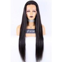 """26-32 inches Extra-Long 13""""x4"""" Lace Front Wig,Indian Remy Human Hair Silky Straight Natural Color 180% Thick Density [Pre-bleached knots, Pre-plucked hairline,Removable elastic band]"""