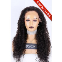 Glueless Lace Front Wig Water Wave,Indian Remy Hair 24 inches,1B#,130% Density,Average Size