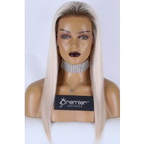 """Olivia--Super Thin Transparent HD Lace, Silver Grey Hair With Brown Roots 13""""×6"""" Lace Frontal Wig, 100% Cuticles Aligned Virgin Hair Silky Straight,Pre-plucked Hairline"""