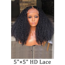 """Super Thin Transparent HD Lace, 5""""x5"""" HD Lace Closure Wig, Kinky Curly Indian Remy Human Hair  [Pre-bleached knots only for natural black color, Pre-plucked hairline, Removable elastic band]"""
