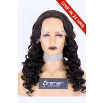 "Curly Style Lace Front Wig Chinese Virgin Hair Natural Color 24"" 180%, Medium Size, Transparent Lace, Pre-plucked hairline, pre-bleached knots"