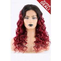Super Deal 18 inches Red Hair Lace Front Wig Curly