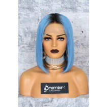 "Blue Hair Dark Roots Bob Cut,4.5"" Lace Front Wig,Indian Remy Hair Silky Straight 150% Density"