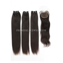 Brazilian Virgin Hair Weave 4ozs thick Hair Silky Straight 3 Bundles with A Lace Closure Deal
