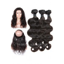 Peruvian Virgin Hair Body Wave 360°Circular Lace Frontal with 3 Weaves Bundles Deal