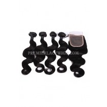 Body Wave Virgin Indian Human Hair Extension A Lace Closure With 4 Bundles Deal