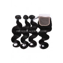 Indian Virgin Human Hair Body Wave A Lace Closure With 3 Bundles Deal