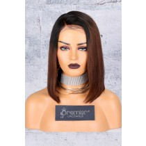 Brown Ombre Bob Lace Front Wig,Deep C Side Part