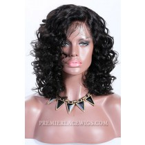 Destiny- 13x3 Lace Frontal Wig Short Curly Style Indian Remy Hair 1B# 12 inches,130% Density,Average Size,Medium Size,Removable Elastic Bands