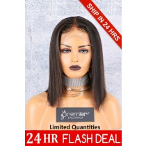 "4.5"" Deep Middle Part Lace Front Wig,Italian Yaki Thick Hair Bob Brown Highlights"