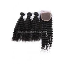 Indian Virgin Human Hair Deep Wave A Lace Closure With 3 Bundles Deal