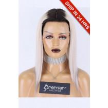 Silk Top Full Lace Wig Dark Roots Platinum Blonde Hair, Grade A+ Ponytail Virgin Hair Silky Straight 12 inches 150% Medium size