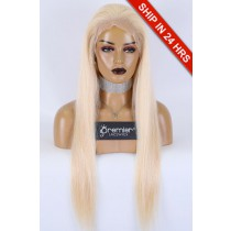 """#613 Blonde Hair 13""""×4"""" Lace Front Wigs Silky Straight,Indian Remy Human Hair 24inches 130%,Medium Size Pre-plucked hairline"""