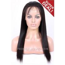 Full Lace Wigs Brazilian Virgin Hair Light Yaki 16 inches & 18 inches