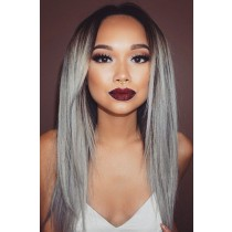 Luxury Brazilian Virgin Hair Silver/Grey Ombre Straight Celebrity Lace Wigs