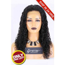 Super Deal 20 inches Lace Front Wig 1B# Color,Wet Curly,Indian Remy Hair,Average Size,150% Density,Medium Brown Lace