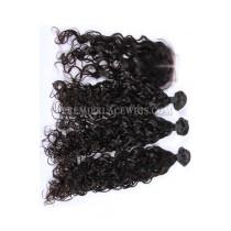Peruvian Virgin Hair Loose Curl A Lace Closure With 3 Bundles Deal