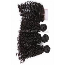 Peruvian Virgin Hair Candy Curl A Lace Closure With 3 Bundles Deal