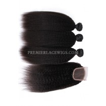 Peruvian Virgin Hair Kinky Straight A Lace Closure With 3 Bundles Deal