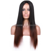 Luxury Brazilian Virgin Hair Coarse Yaki Black To Brown Ombre Celebrity Lace Wigs