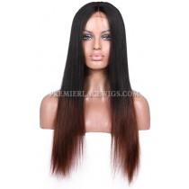 Luxury Brazilian Virgin Hair Coarse Yaki Black To Brown Ombre Celebrity Lace Wigs