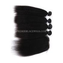 Kinky Straight Virgin Indian Human Hair Extension A Silk Base Closure with 3 Bundles Deal v