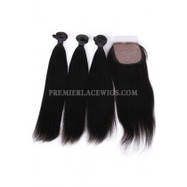 Light Yaki Virgin Indian Human Hair Extension A Silk Base Closure with 3 Bundles Deal