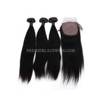 Straight Virgin Indian Human Hair Extension A Silk Base Closure with 3 Bundles Deal